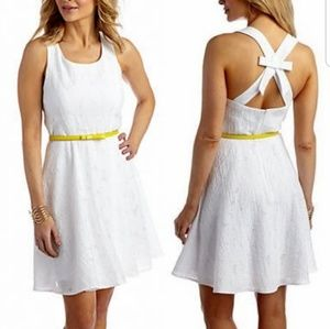 Sandra Darren White Bow Back Sheath Dress